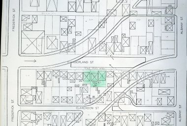 Map of proposed realignment of Castle and Cumberland Streets (1973)