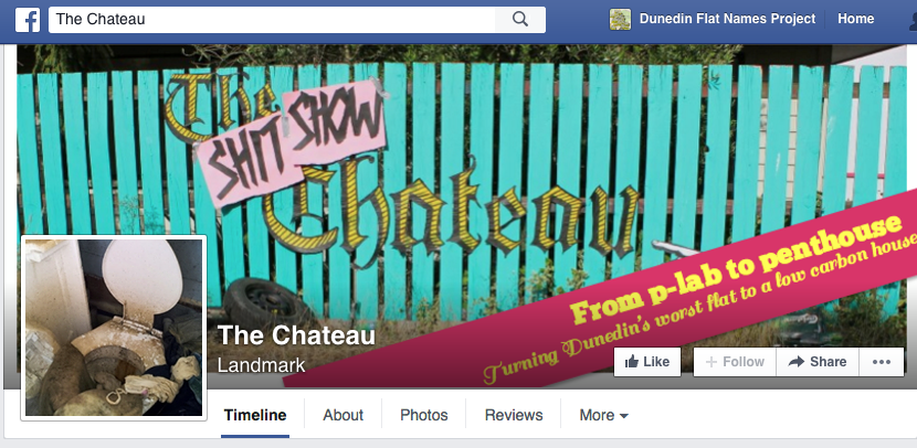 Screenshot of the Facebook page for The Shit SHow Chateau